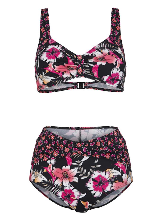 Maritim Bikini in elegant wikkelmodel, Zwart/Oranje/Pink