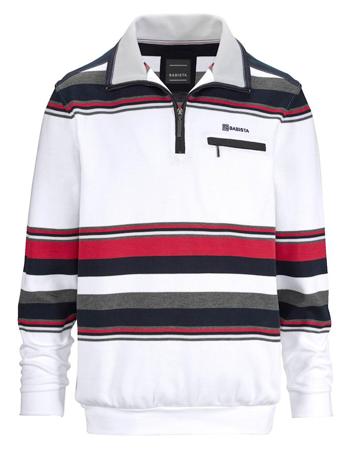 BABISTA Sweat-shirt Motif rayé tissé-teint, Blanc/Rouge/Bleu