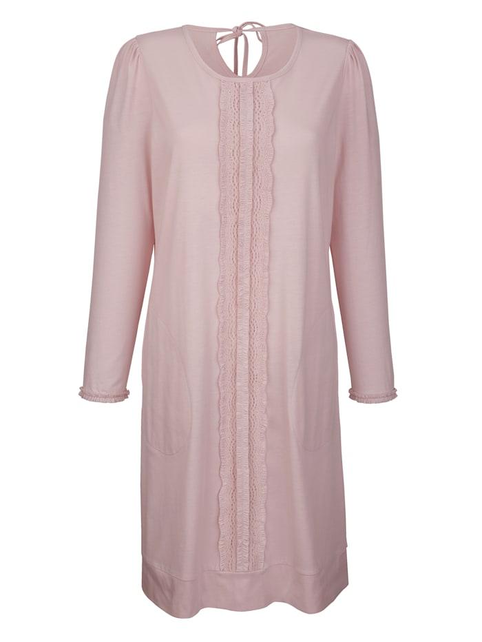 Simone Nachthemd mit romantischer Spitzenbordüre, puder