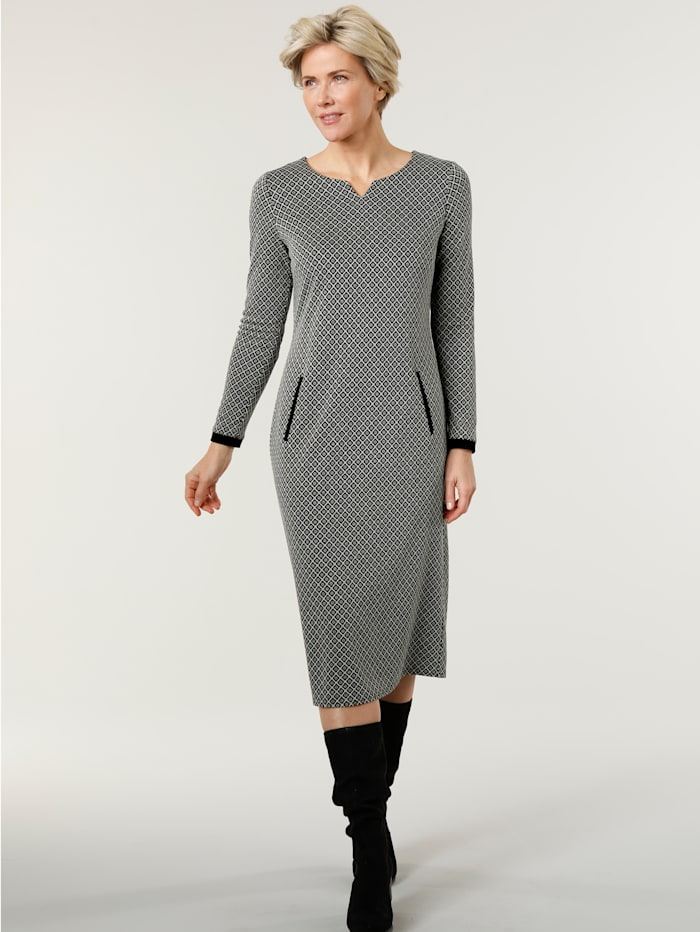 MONA Jerseykleid aus Jacquard, Schwarz/Weiß
