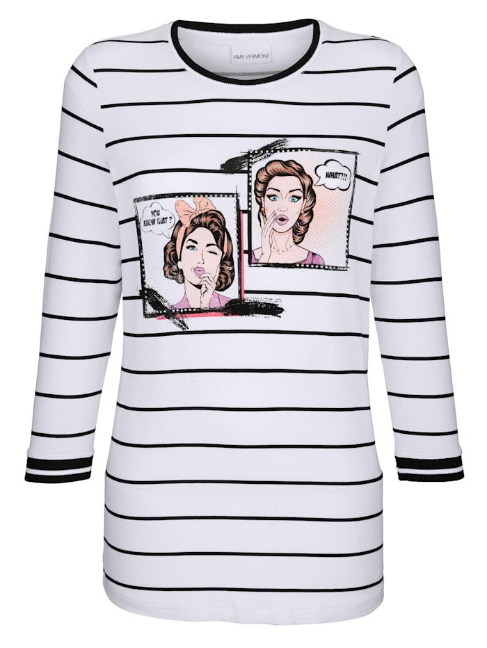 AMY VERMONT Shirt mit Druck, Schwarz/Weiß