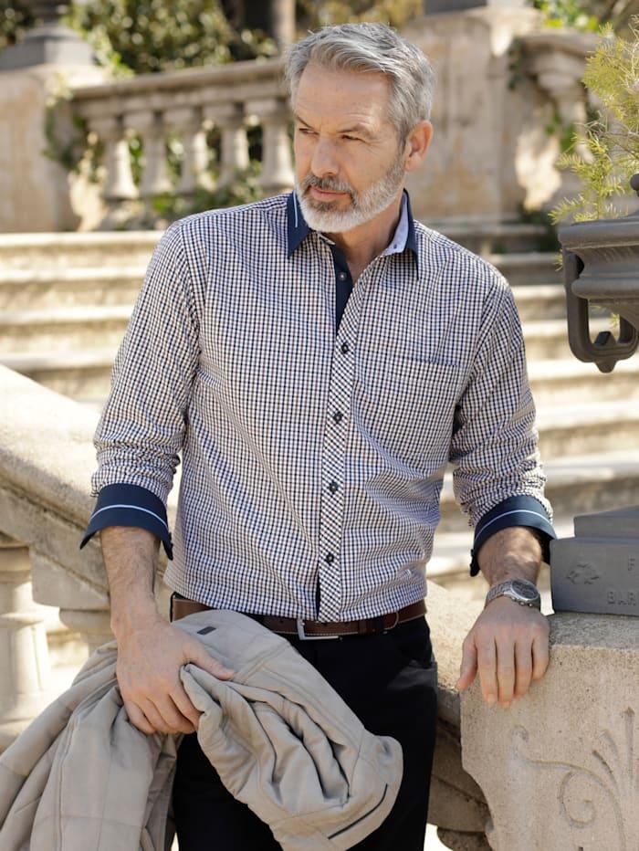 BABISTA Overhemd met luxueuze details, Marine/Bruin