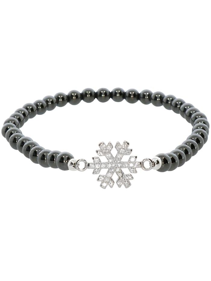 1001 Diamonds Schneeflocke Hämatit Armband 925 Silber 17 cm, grau