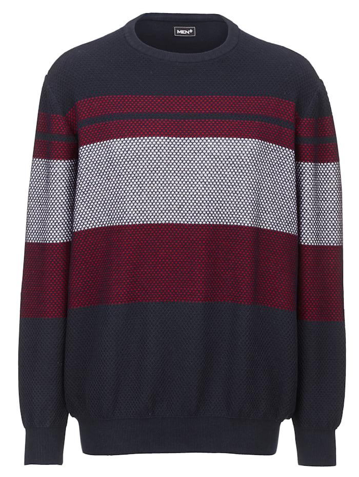 Men Plus Pulovr z čisté bavlny, Námořnická/Ecru/Červená