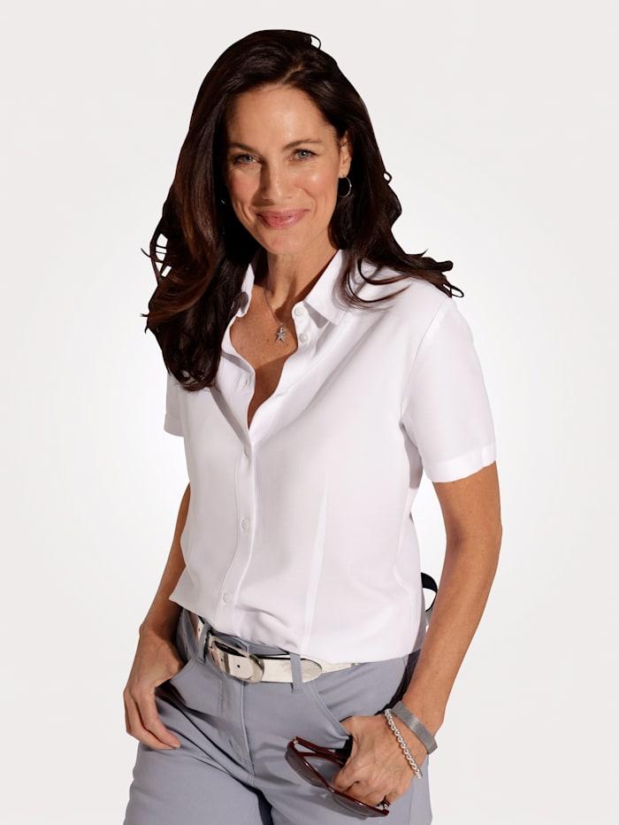 MONA Bluse mit durchgängiger Knopfleiste, Weiß