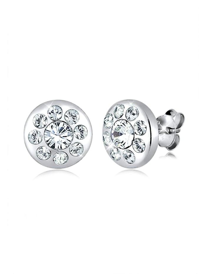 Elli Ohrringe Kreis Elegant Kristalle Funkelnd Silber, Weiß