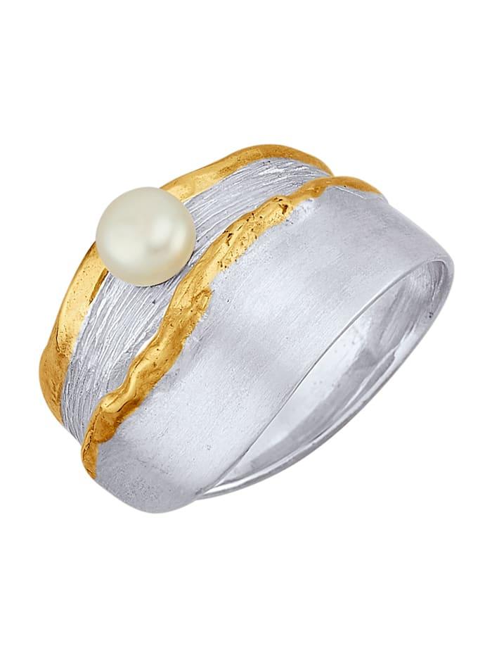 Ursula Christ Bague avec perle de culture d'eau douce, Blanc