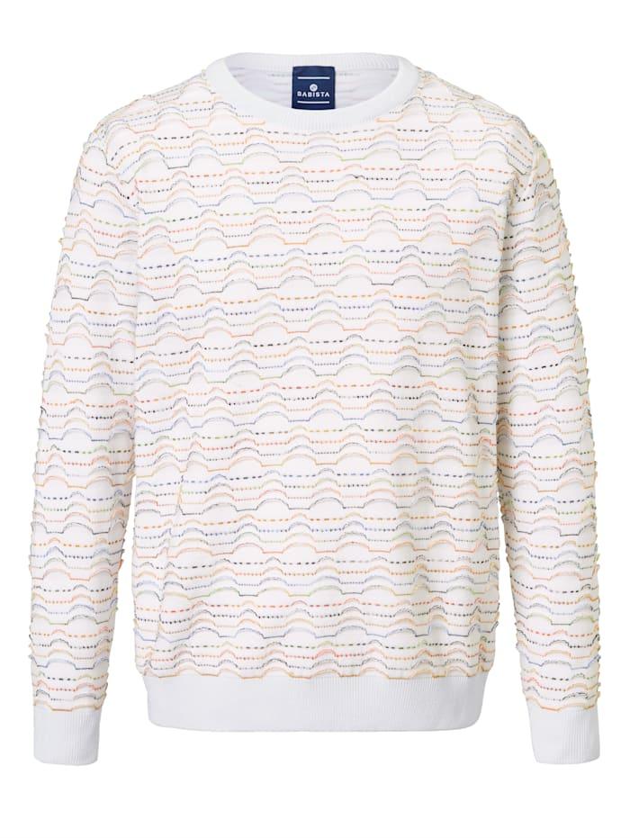 BABISTA Pullover mit Jacquard-Muster mit 3D-Effekt, Weiß/Multicolor