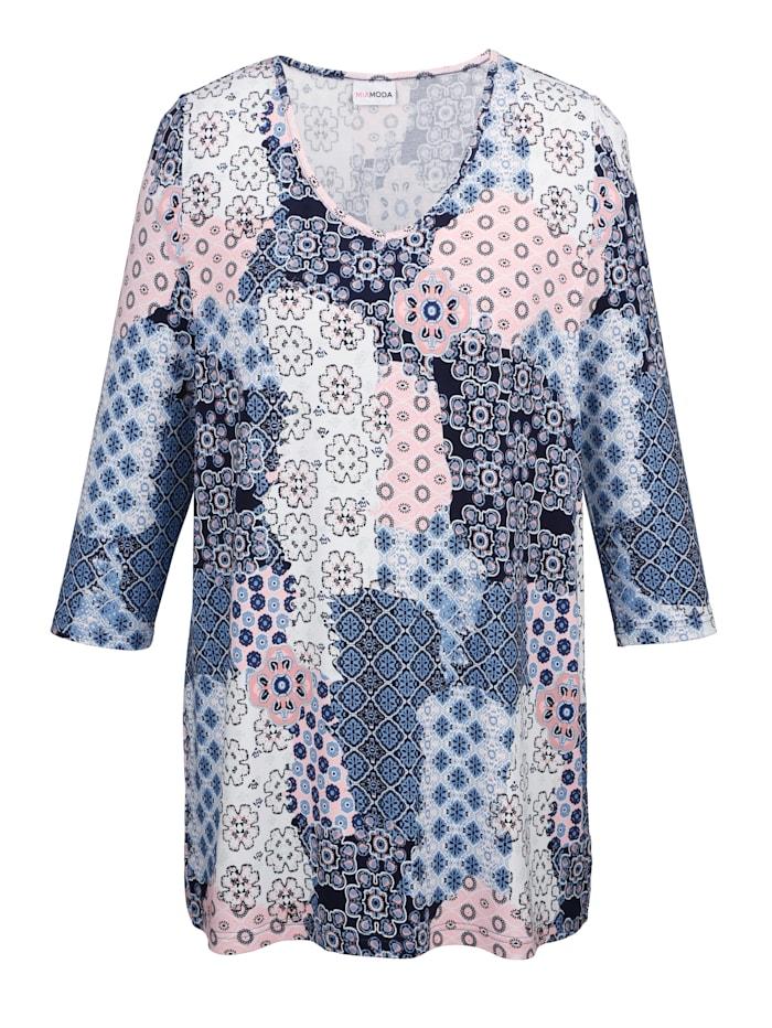 Shirt met trendy patronenmix