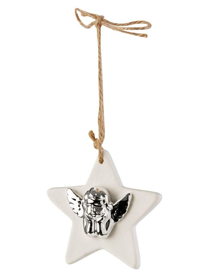 MARAVILLA Hänger, Stern mit Engel, Weiß/Silberfarben