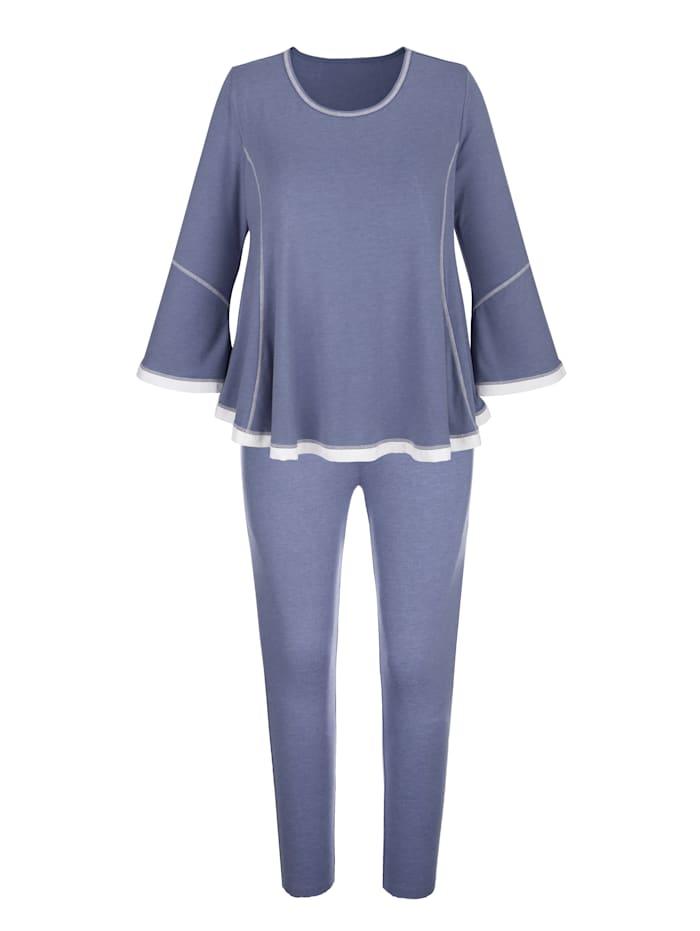 Blue Moon Pyjama met romantisch chiffon, Rookblauw