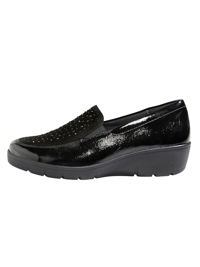 Slip-on shoes with rhinestones