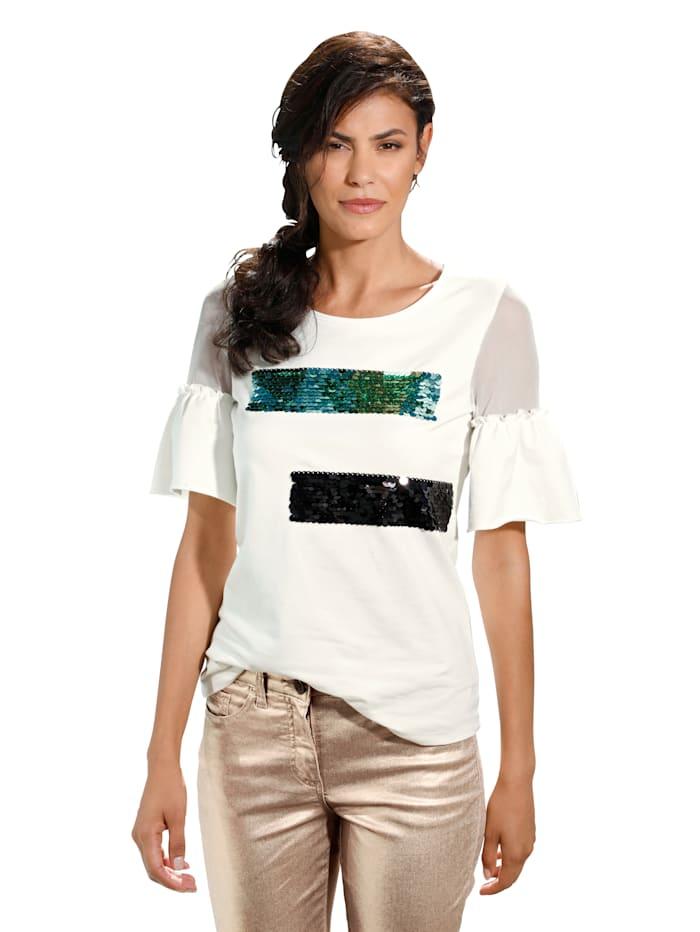AMY VERMONT Shirt mit Pailletten, Weiß/Schwarz/Mintgrün