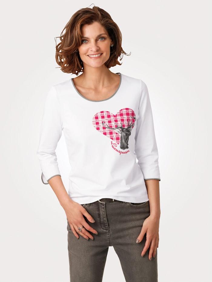 MONA Shirt mit platziertem Druck-Motiv, Weiß/Rot