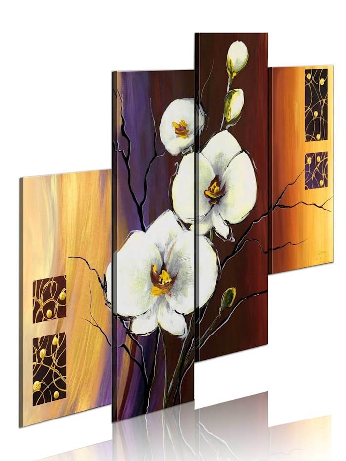 artgeist Handgemalte Bild Weiße Orchidee, Beige,Braun,Violett,Weiß