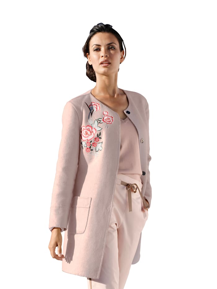 AMY VERMONT Longjacke in Double-Face Qualität, Rosé