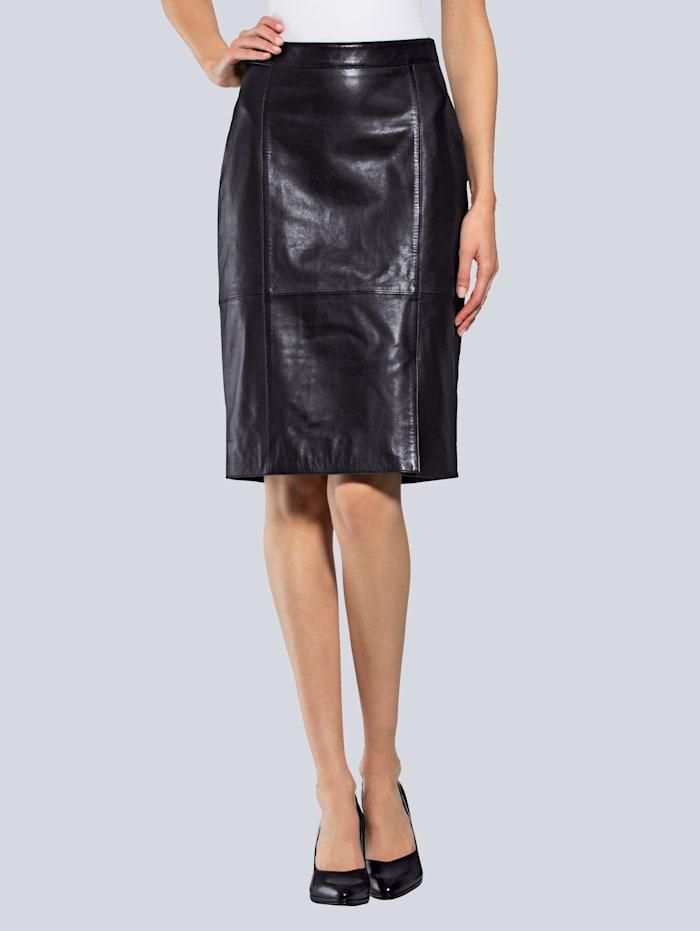 Alba Moda Lederrock aus hochwertigem Lammnappaleder, Schwarz