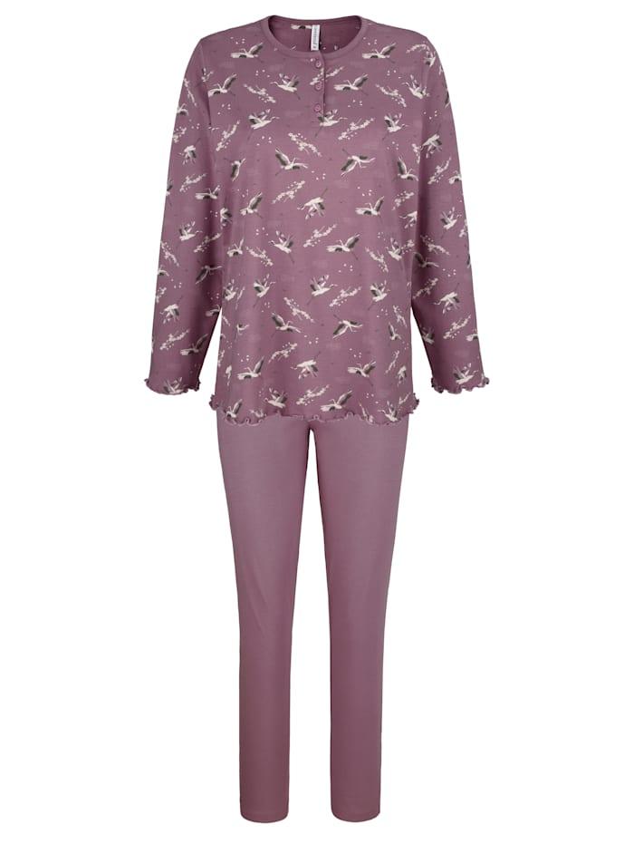 """Comtessa Pyjama en coton issu de l'initiative """"Cotton made in Africa"""", Bois de rose/Écru/Gris"""