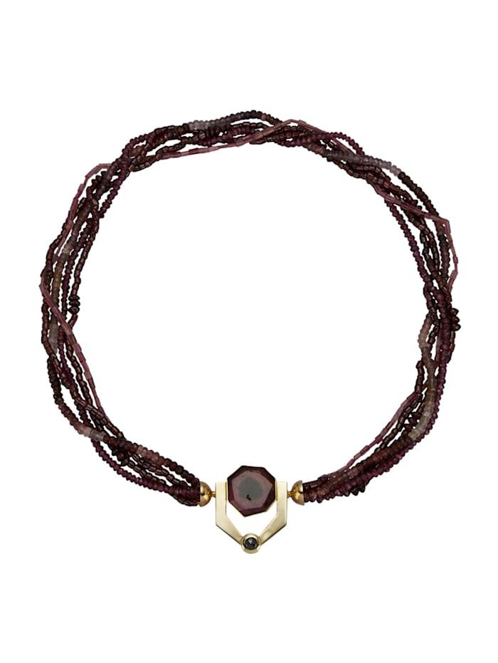 Diemer Farbstein Turmalin/Granat-Collier mit 1 schwarzen Diamant, Lila