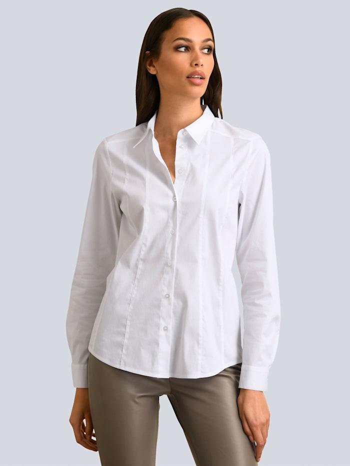 Alba Moda Hemdbluse in schöner Stretch-Qualität mit feinem Glanz, Weiß