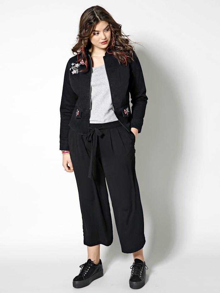 Angel of Style Spijkerjasje met bloemenborduursel, Zwart