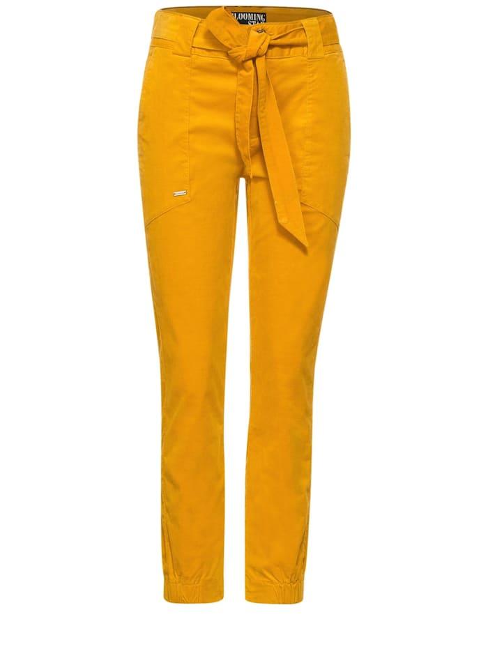 Street One Loose Fit Hose mit Gürtel, sulphur yellow