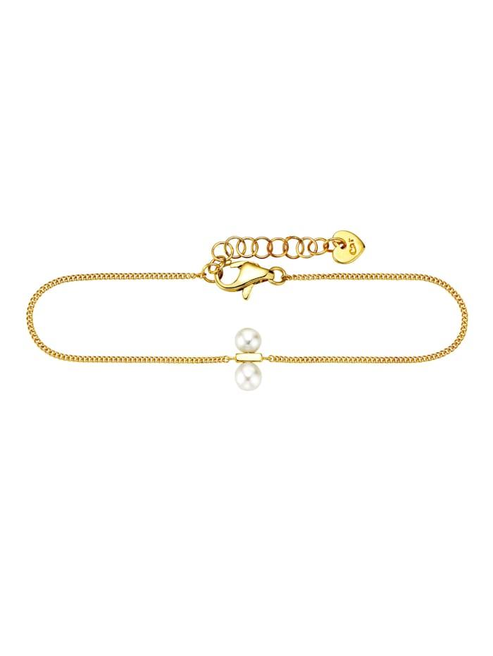 CAI Armband 925/- Sterling Silber Süßwasserzuchtperle 15+3cm Glänzend, gelb