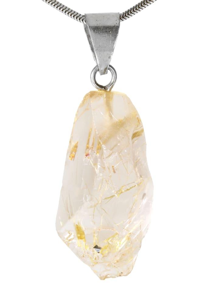 1001 Diamonds Damen Schmuck Edelstein Rultilquarz Anhänger 925 Silber braun, braun