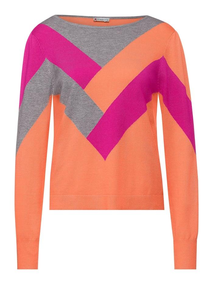 Street One Pullover mit Colourblock, strong mandarine