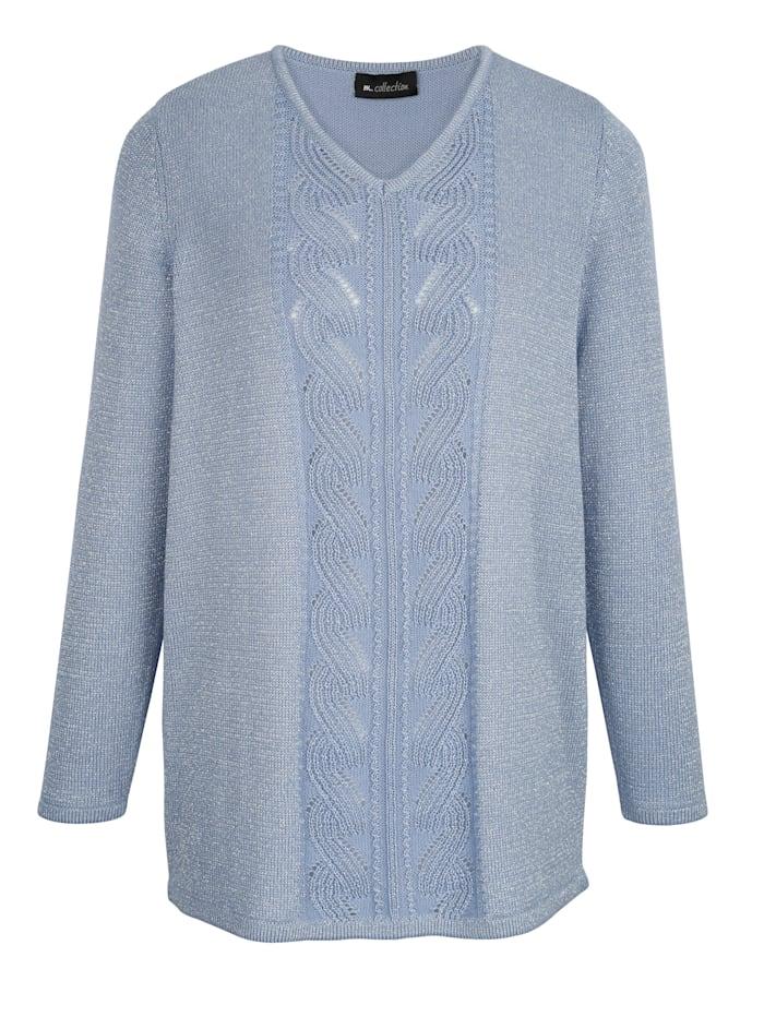 m. collection Pullover rundum mit silberfarbenem Glitzerfaden gearbeitet, Blau