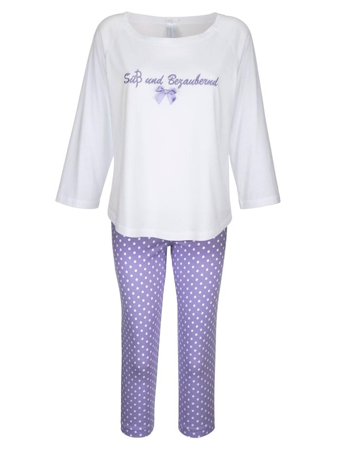 Louis & Louisa Pyjama à jolie broderie, Blanc/Parme