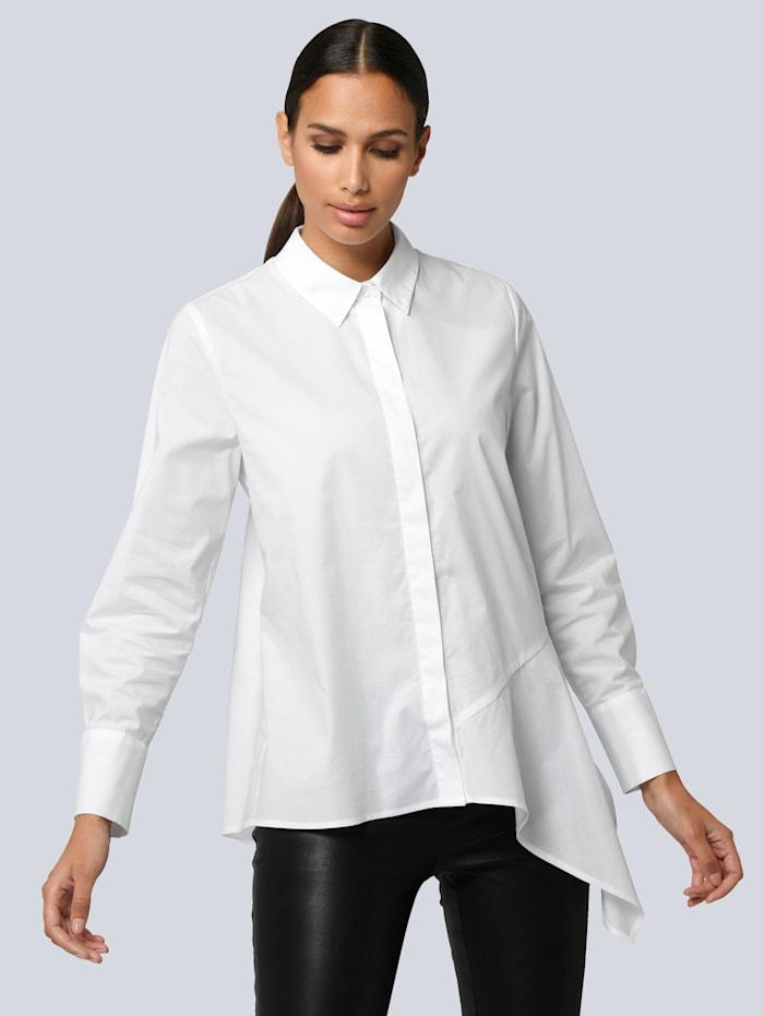 Alba Moda Bluse mit asymmetrischem Vorderteil, Weiß