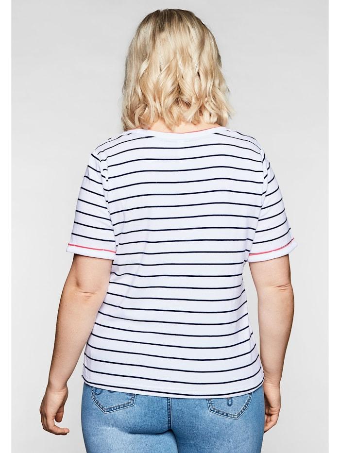 T-Shirt mit Ringeln und Brusttasche in Kontrastfarbe