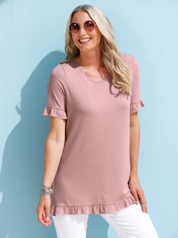 MIAMODA Shirt mit Rüschen, Rosé