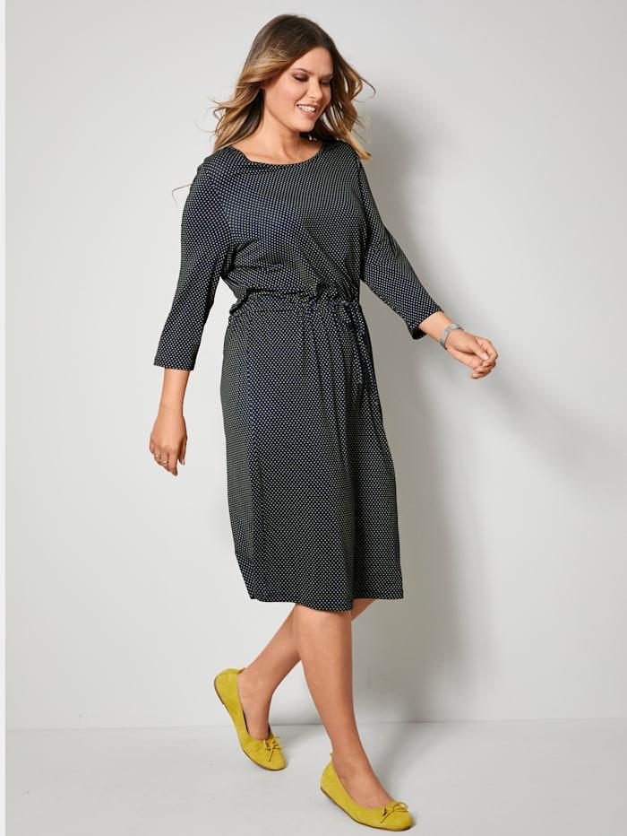 Janet & Joyce Jersey jurk met tunnelkoord in de taille, Marine/Neongeel