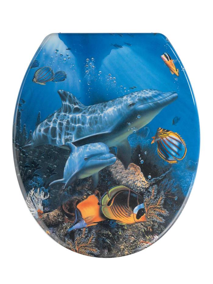 Wenko WC-Sitz Sea Life, aus antibakteriellem Duroplast, Mehrfarbig, Befestigung: Silber matt