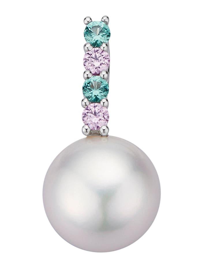 Diemer Perle Pendentif à 1 perle bouton de culture d'eau douce blanche, Blanc