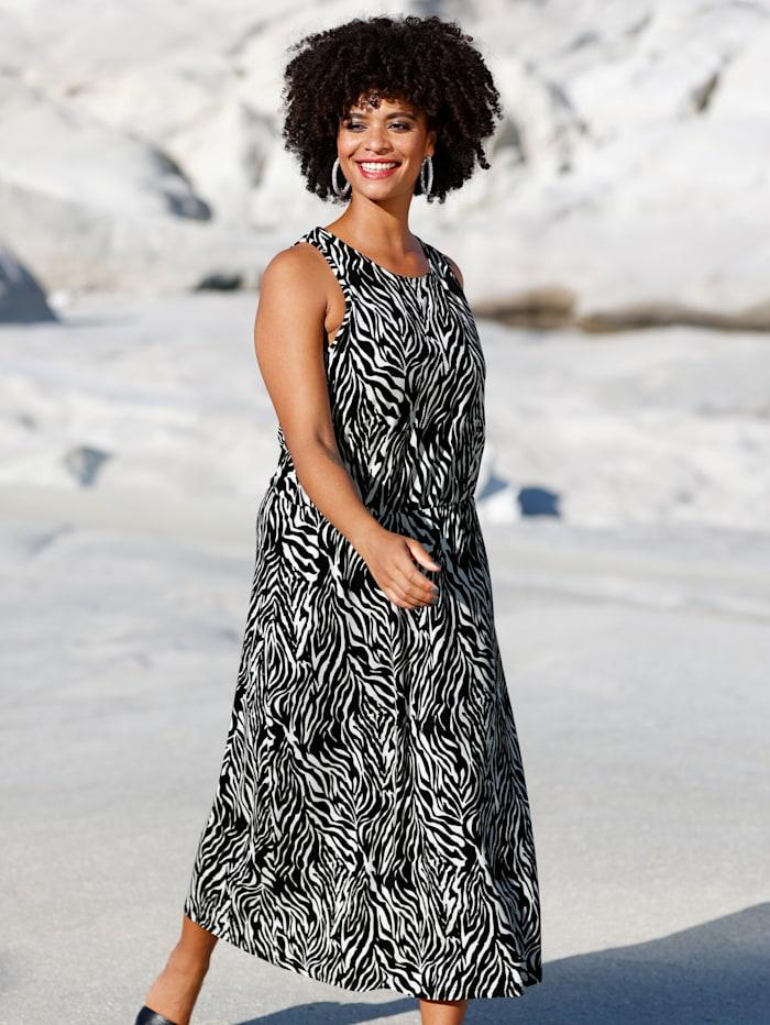 Jersey jurk met elastische band in de taille