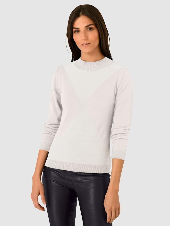 Alba Moda Pullover mit Ton-in-Ton Muster, Creme-Weiß