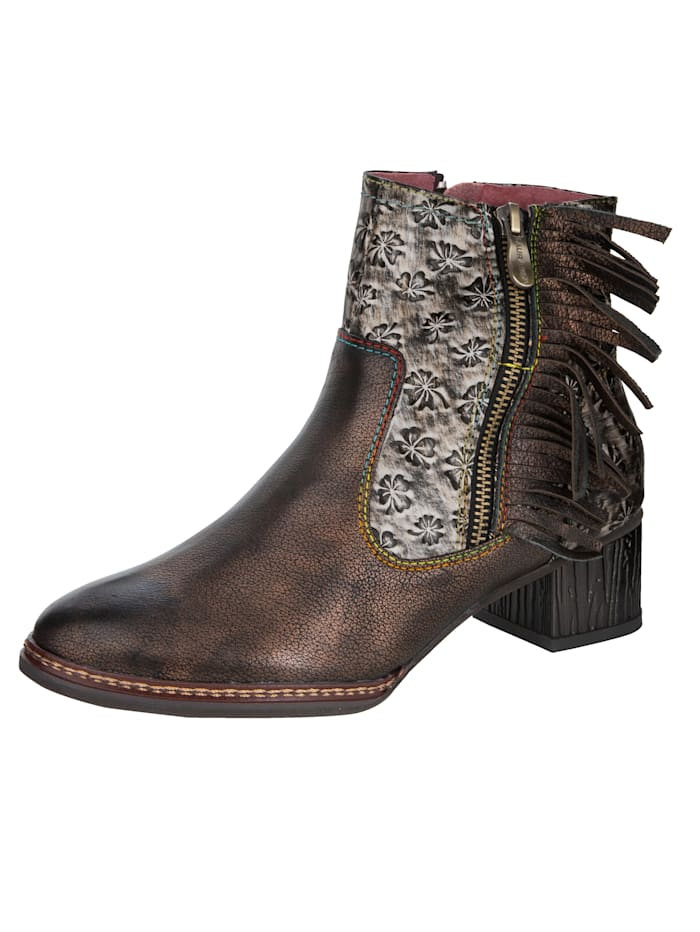 Laura Vita Bottines avec franges tendance, Marron