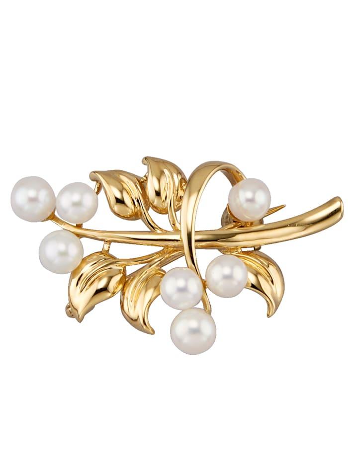 Diemer Perle Brosche mit Süßwasserzuchtperlen, Weiß