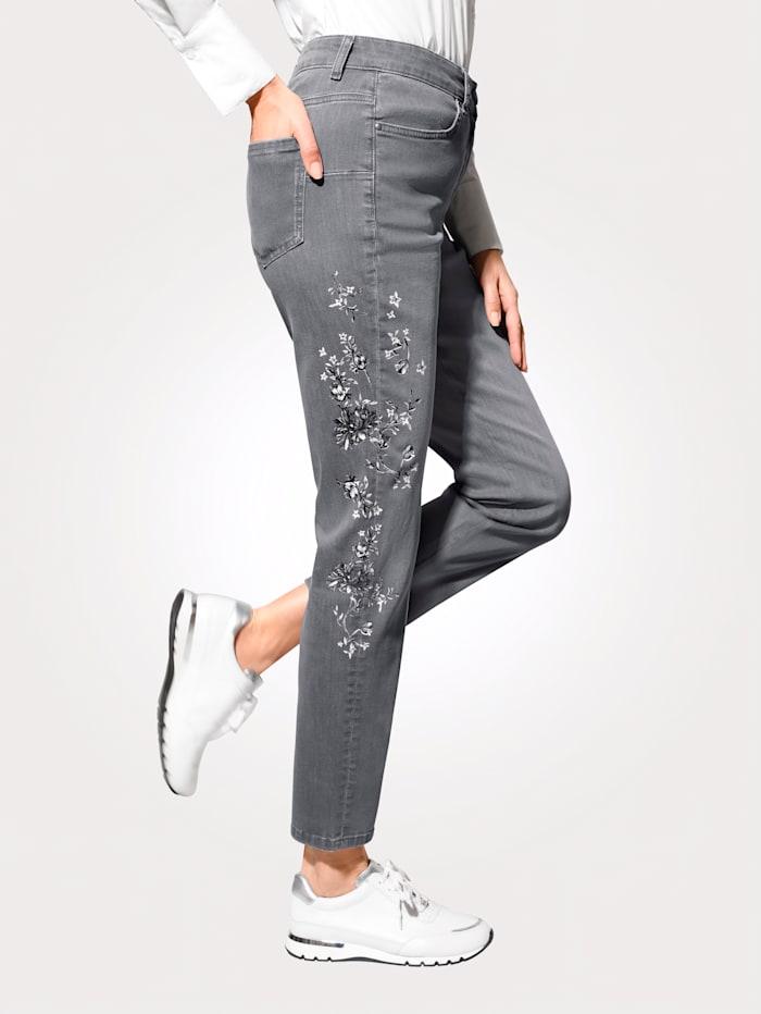 MONA Jeans mit floralem Druckmotiv, Hellgrau