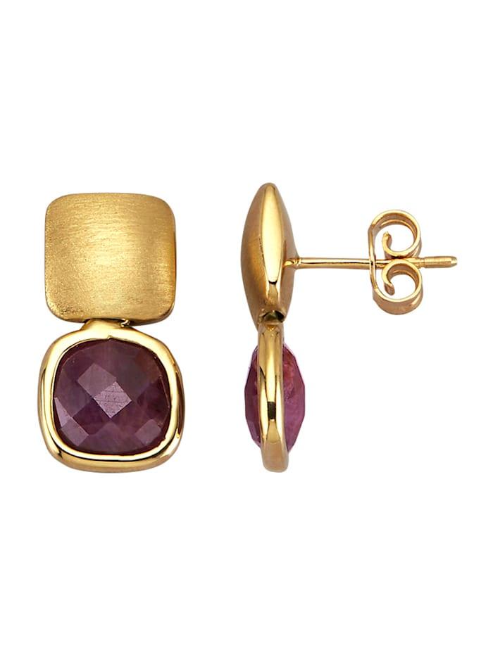 Amara Pierres colorées Boucles d'oreilles avec 2 rubis, Rouge