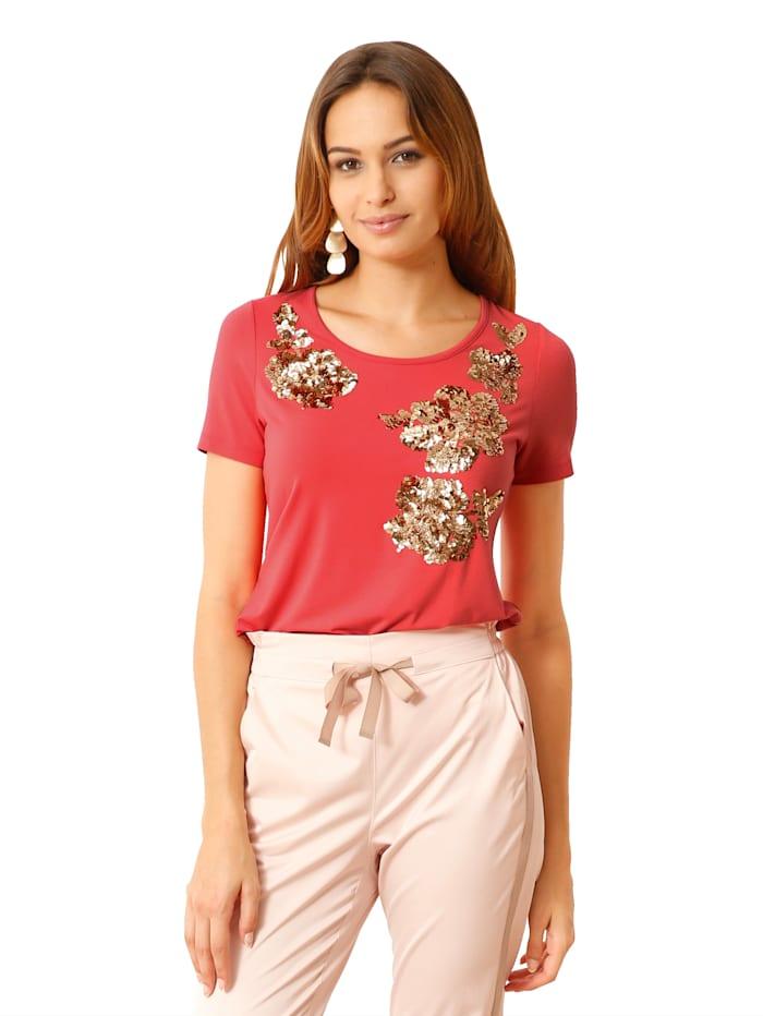 AMY VERMONT Shirt met bloemmotief van pailletten, Koraal/Goudkleur