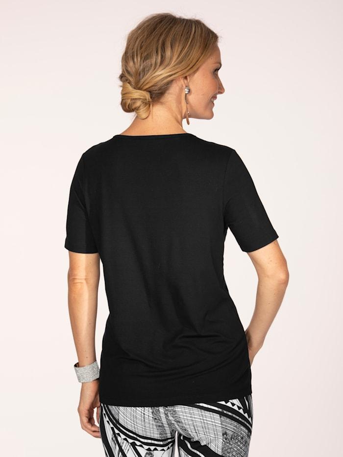 Shirt mit Perlenbesatz am Kragen