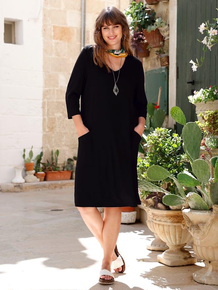 MIAMODA Kleid mit aufgesetzten Taschen, Schwarz