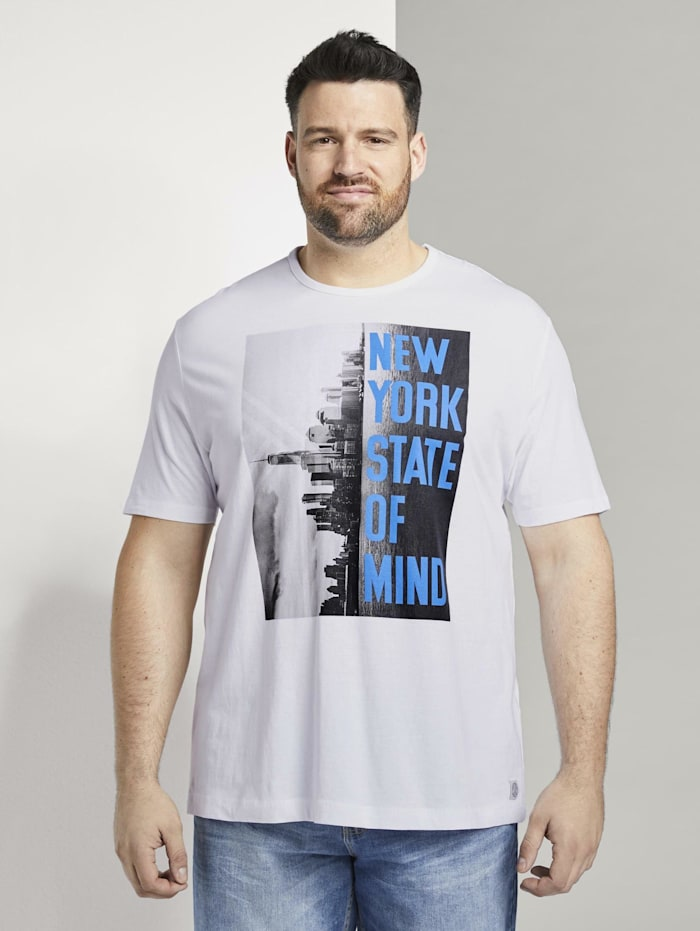 "Tom Tailor Men Plus T-Shirt mit ""New York"" Print, White"