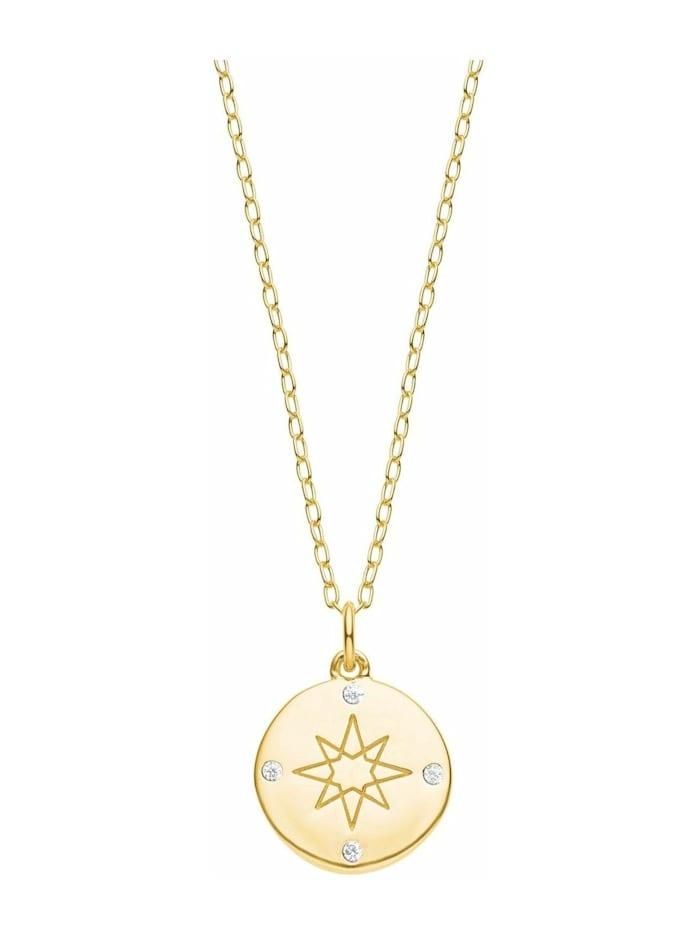 s.Oliver Kette für Damen, Sterling Silber 925, Zirkonia Kompass, Gold