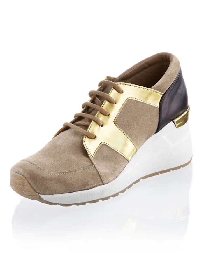 Alba Moda Sneaker met sleehak, Beige