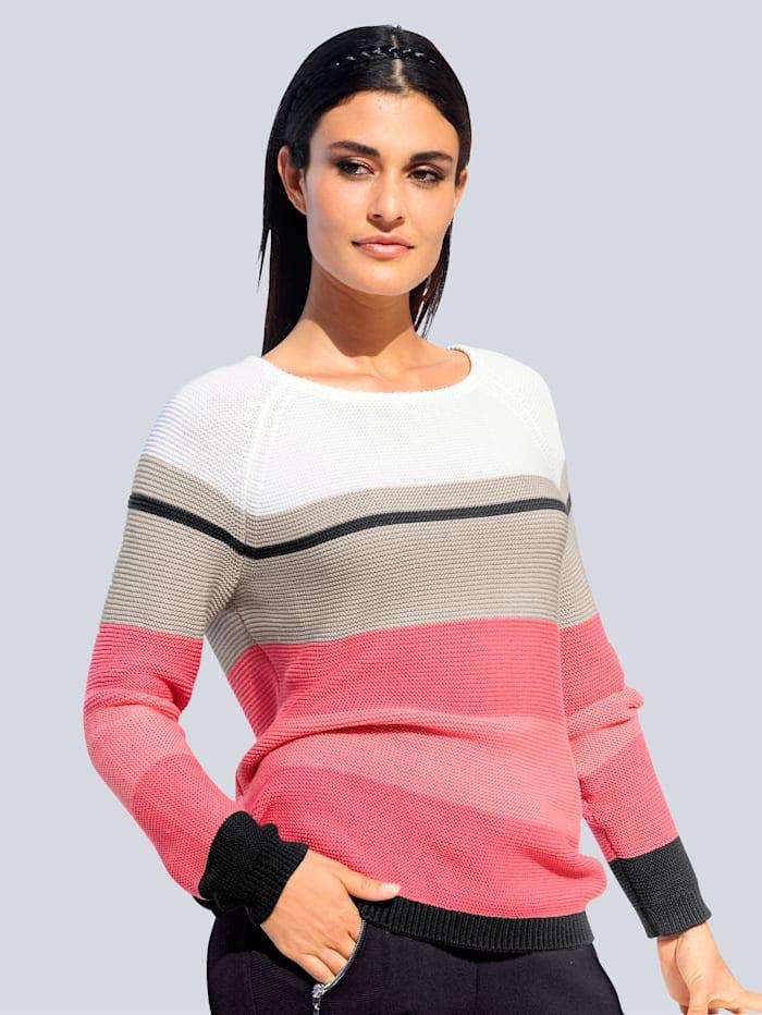 Alba Moda Pullover aus hochwertiger Pima Cotton Qualität, Koralle/Stein/Schwarz/Off-white